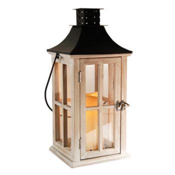 LumaBase Distressed White Wood & Black Metal Finish LED Candle Lantern