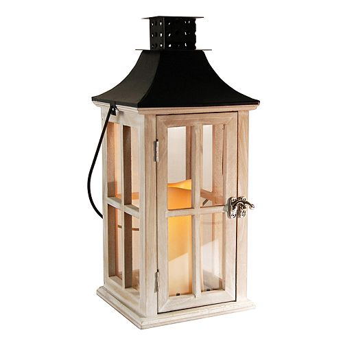 LumaBase Distressed White Wood & Black Metal Finish LED Candle Lantern