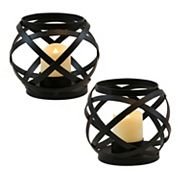LumaBase Brown Finish Wood LED Candle Lantern 2 pc Set