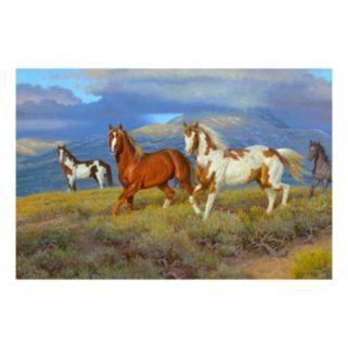 Reflective Art Wild Horses Canvas Wall Art