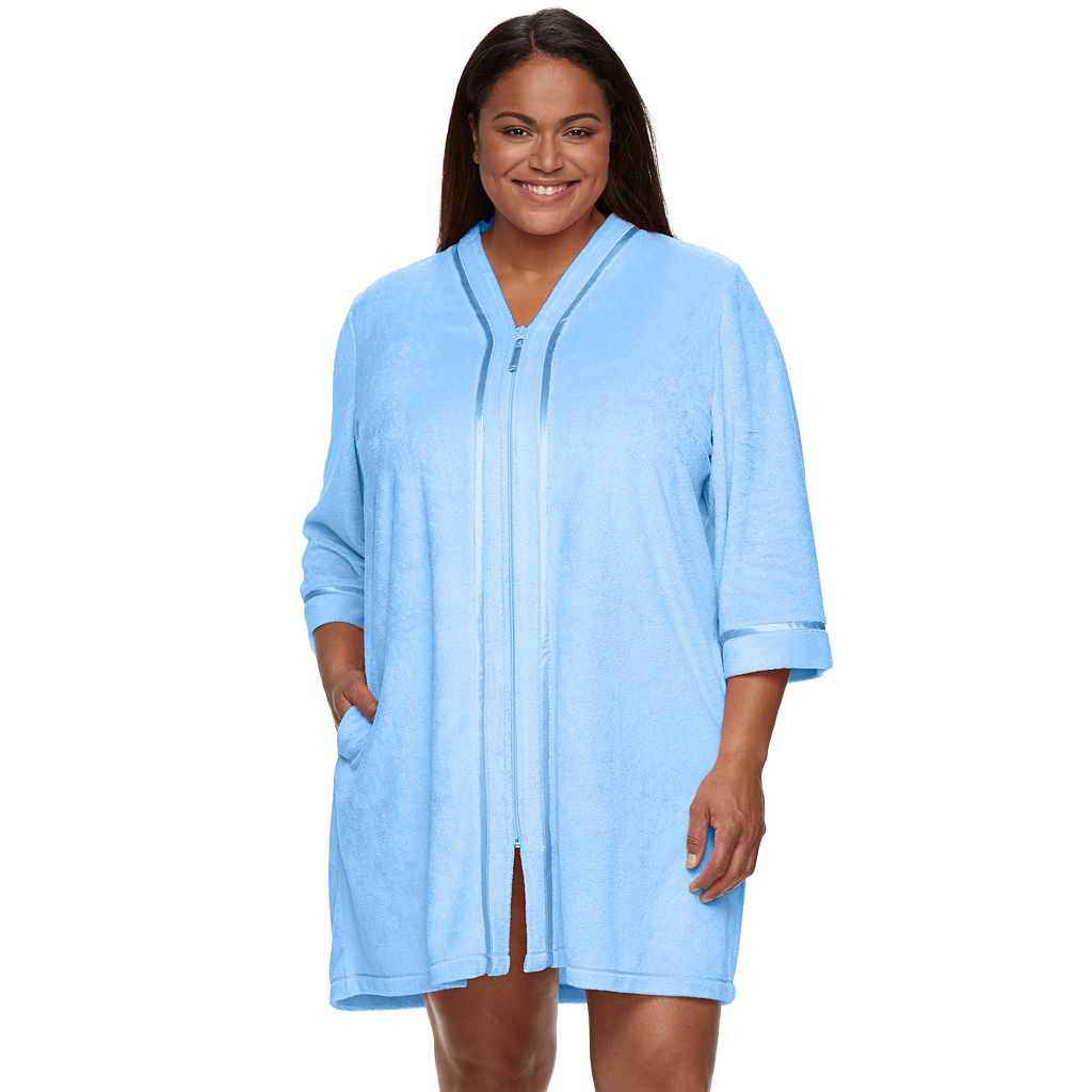 Plus Size Croft & Barrow® Zip-Front Wicking Terry Robe