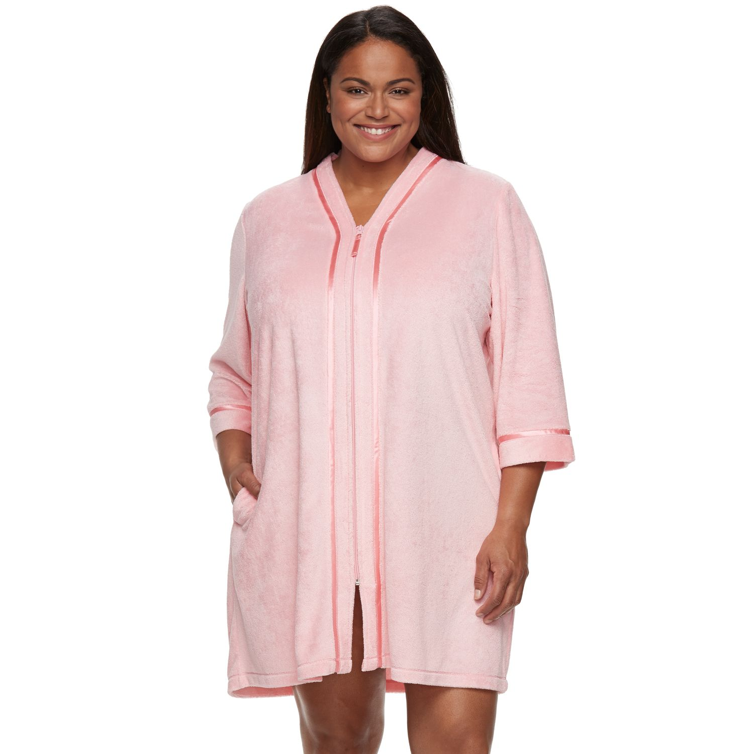 yellow dress plus size zip front robes