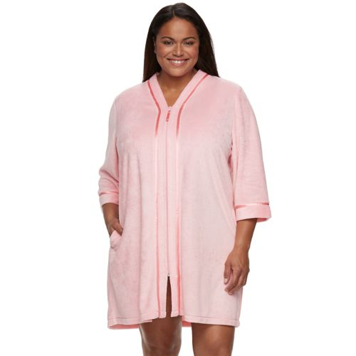 Plus Size Croft & Barrow® Zip-Front Terry Robe