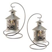 LumaBase Elegant Metal Tabletop Candle Lantern 2 pc Set