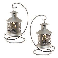 LumaBase Elegant Metal Tabletop Candle Lantern 2-piece Set