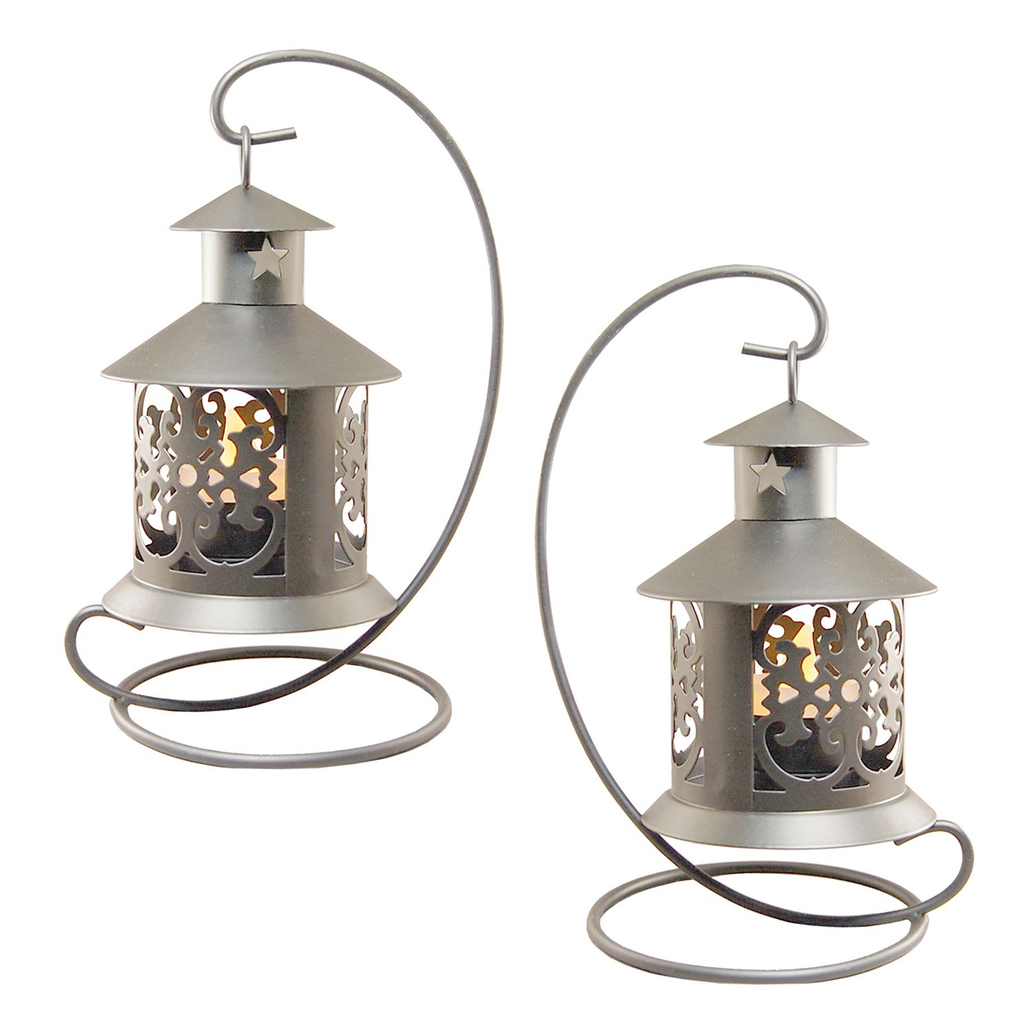 LumaBase Elegant Metal Tabletop Candle Lantern 2 Piece Set