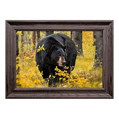 Reflective Art Fall Black Bear Framed Wall Art