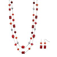 Red Beaded Geometric Double Strand Necklace & Earring Set