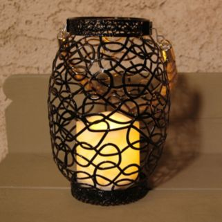 LumaBase Swirled Metal LED Candle Lantern