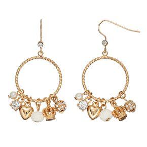 Juicy Couture Crown Heart Charm Drop Hoop Earrings
