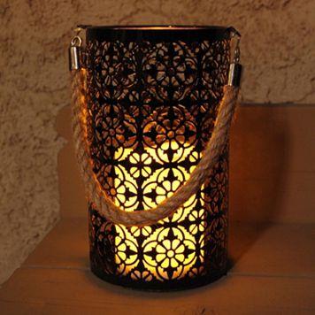 LumaBase Motif Metal LED Candle Lantern