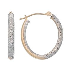 New York Gold Designs 14k Gold Two Tone Oval Hoop Earrings