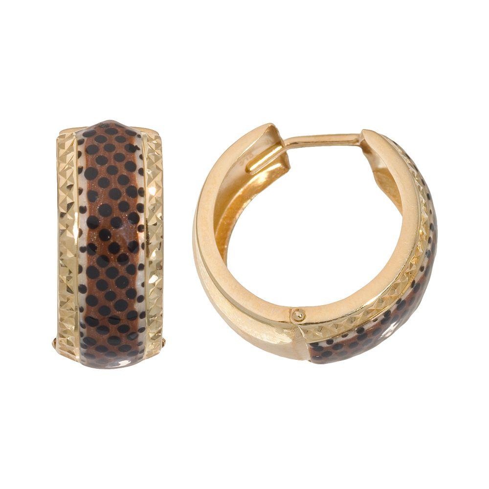 York Gold Designs 14k Gold Leopard Hoop Earrings