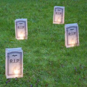 LumaBase Tombstone Timer Luminaria Outdoor Decor 6-piece Set