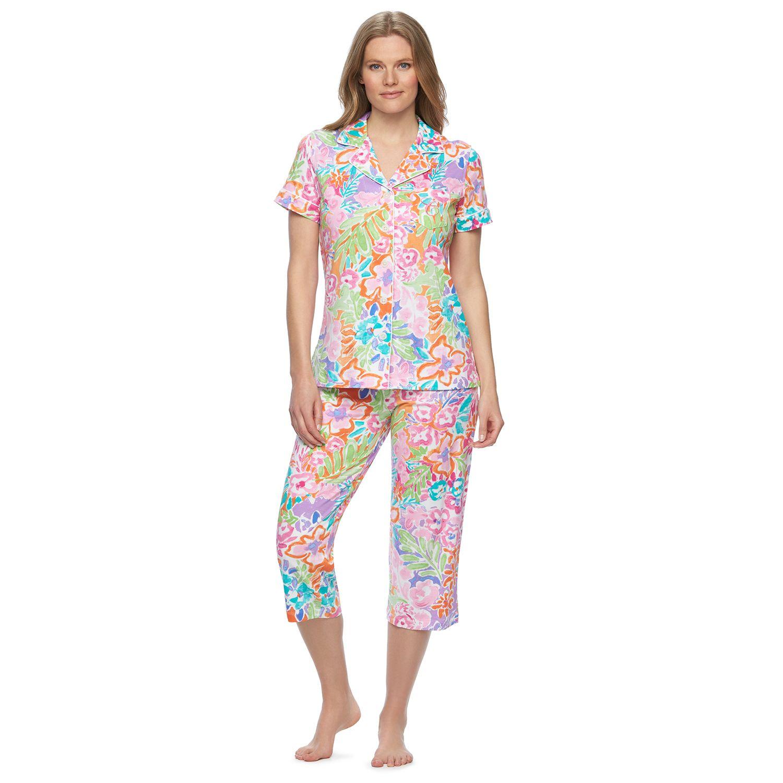 Plus Size Chaps Pajamas: Top & Capris PJ Set
