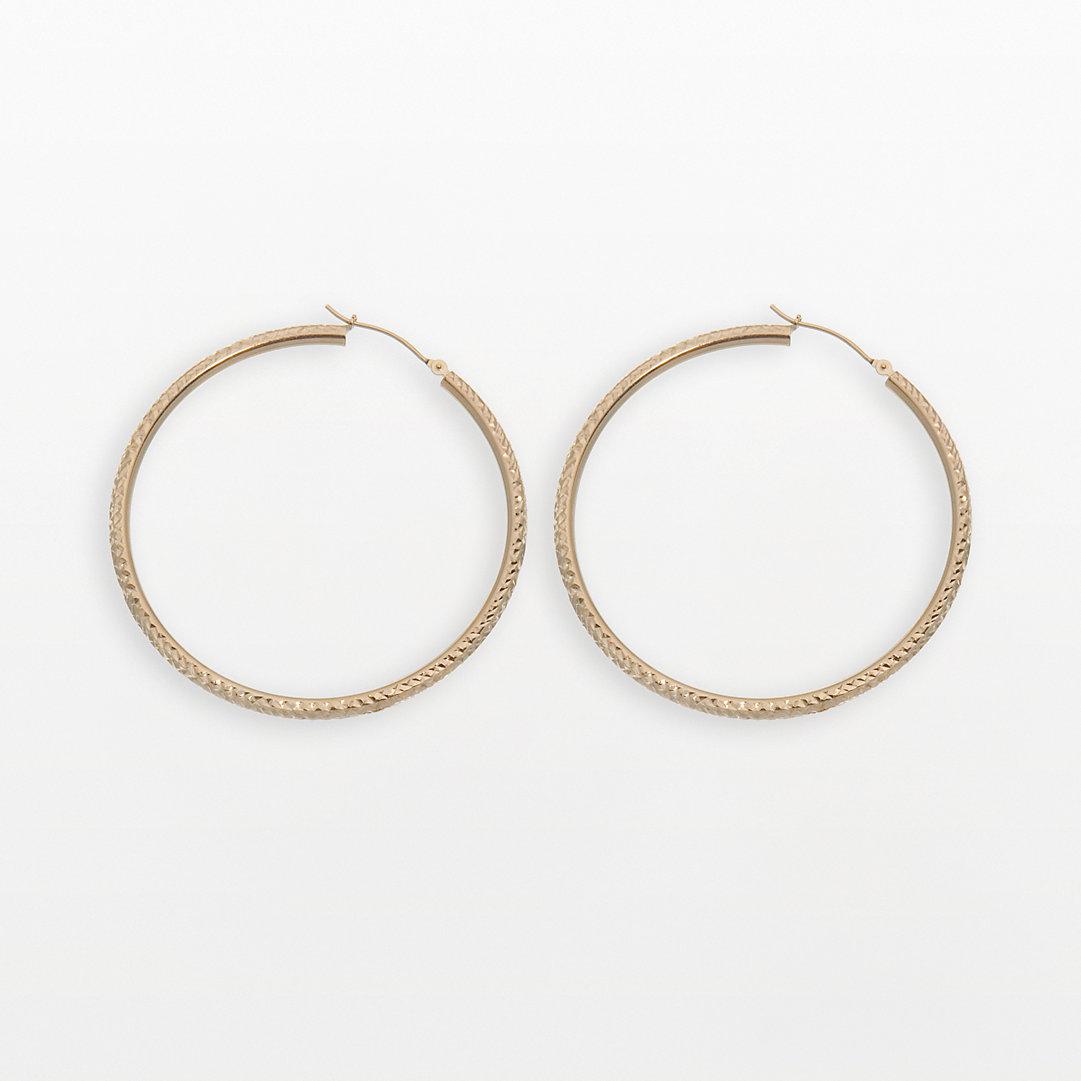 New York Gold Designs 14k Box Hoop Earrings