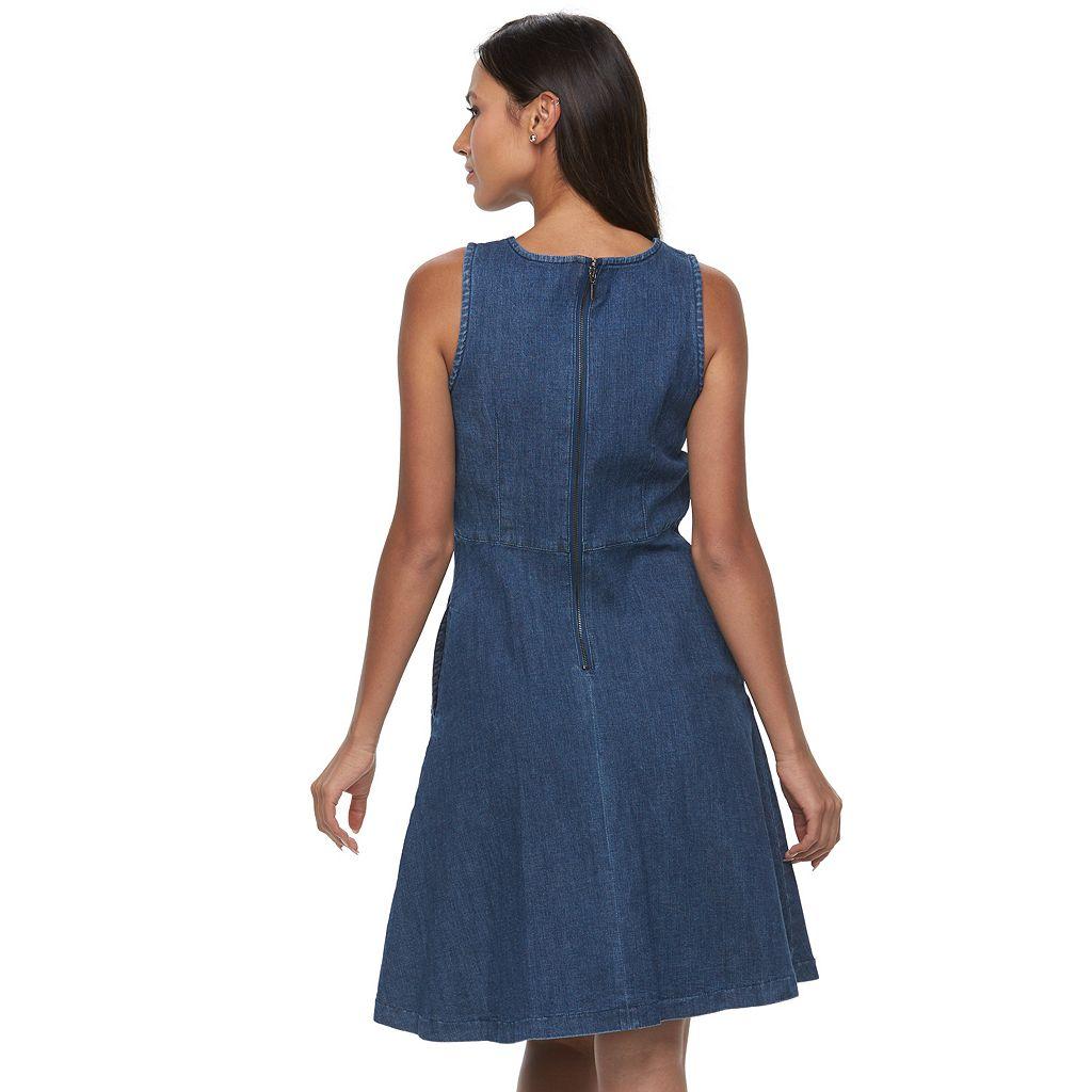 Women's Sharagano Fit & Flare Jean Dress