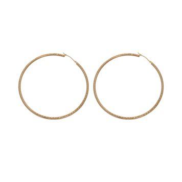 New York Gold Designs 14k Gold Textured Hoop Earrings