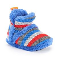 Baby Boy Skidders Striped Knit Booties