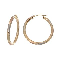 New York Gold Designs 14k Gold Tri-Tone Stripe Hoop Earrings