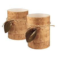 LumaBase Cork & Leaf Flameless Timer Candle 2 pc Set