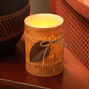 LumaBase Cork & Leaf Flameless Timer Candle 2-piece Set