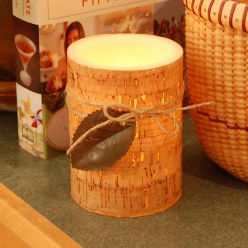 LumaBase Cork & Leaf Flameless Timer Candle 2-piece Set