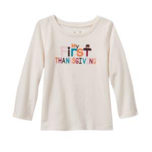 Baby Girl Jumping Beans® Glittery Thanksgiving Tee