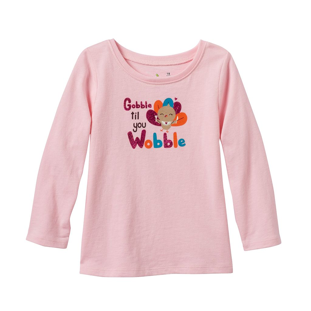 Baby Girl Jumping Beans® Glittery Thanksgiving Tee