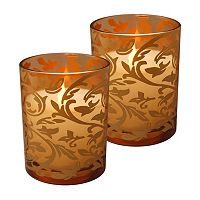 LumaBase Flameless Jacquard Timer Candle 2 pc Set
