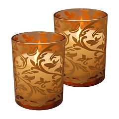 LumaBase Flameless Jacquard Timer Candle 2-piece Set