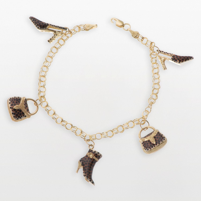 New York Gold Designs 14k Gold Leopard Shoe  Handbag Charm Bracelet