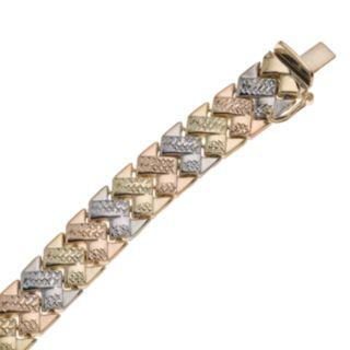 New York Gold Designs 14k Gold Tri-Tone Chevron Bracelet