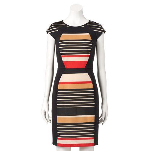 Ronni Nicole Womens Slevless Stripe Sheath Dress