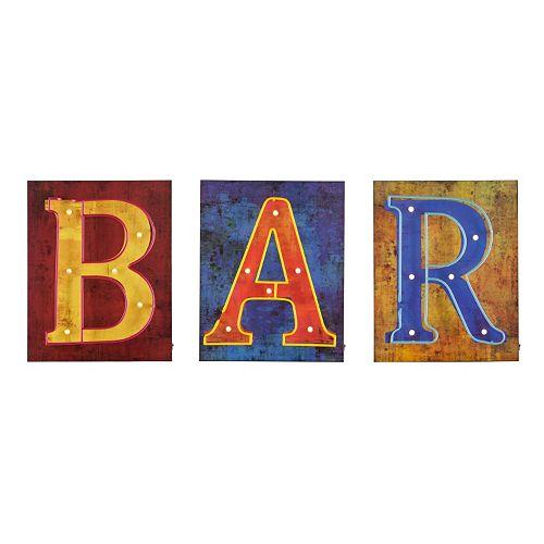 Vance LED Bar Sign Wall Decor 3-piece Set