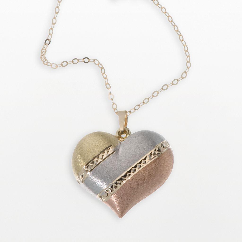 New York Gold Designs 14k Gold Tri-Tone Puffed Heart Pendant