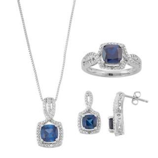 Lab-Created Sapphire & Diamond Accent Jewelry Set