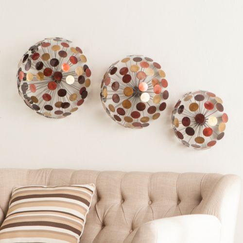 Javier Metal Sphere Wall Art 3-piece Set