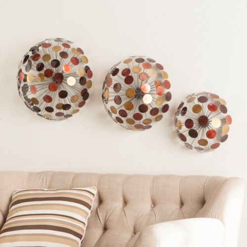 Javier Metal Sphere Wall Art 3-piece Set