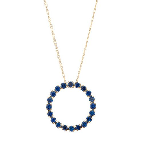 10k Rose Gold Lab-Created Sapphire Circle Pendant