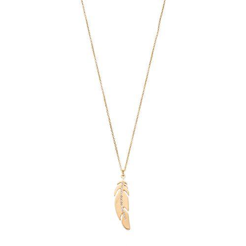 LC Lauren Conrad Gold Tone Feather Pendant Long Necklace