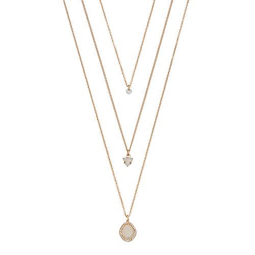 LC Lauren Conrad Layered Simulated Crystal Pendant Necklace