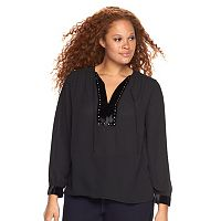 Plus Size Rock & Republic® Embellished Peasant Top