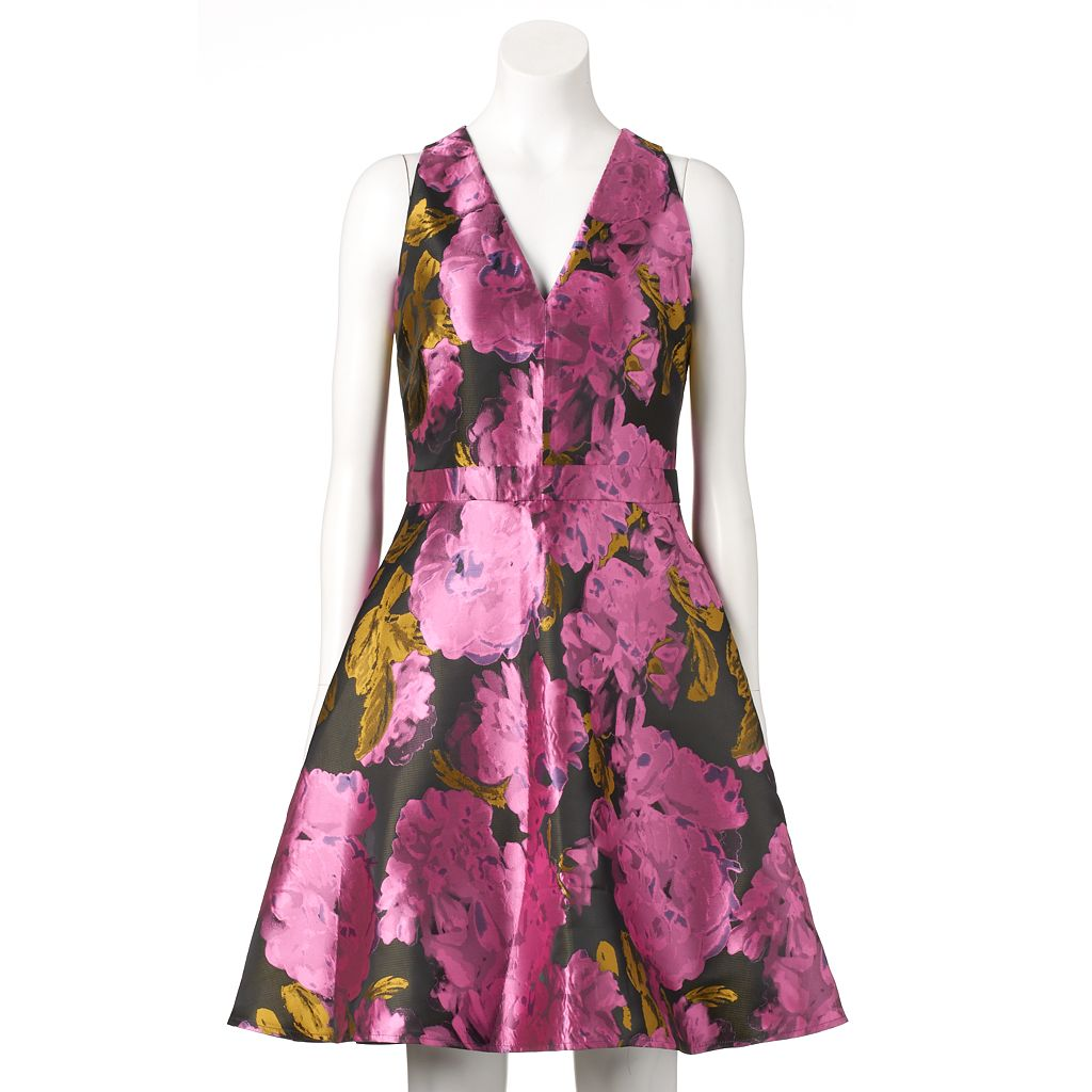Women's Ronni Nicole Floral Taffeta Fit & Flare Dress