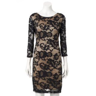Women's Ronni Nicole Contrasting Lace Sheath Dress