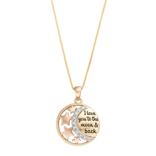 "CHARMED BY DIAMONDS 1/10 Carat T.W. Diamond ""I Love You to the Moon & Back"" Pendant"