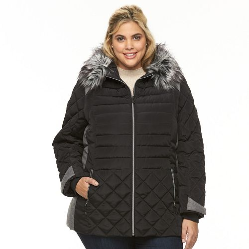 Plus Size Zeroxposur Sabrina Hooded Mixed Media Puffer Jacket