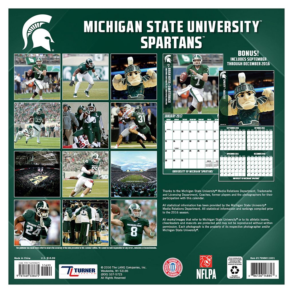 Michigan State Spartans 2017 Sports Calendar