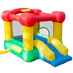 Hey! Play! Inflatable Castle Bounce House with Slide & Basketball Hoop by