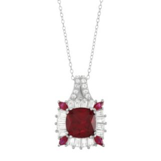 Sterling Silver Lab-Created Ruby & White Sapphire Halo Pendant Necklace